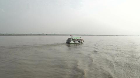 Ayeyarwady river, cruise ship passing by Footage