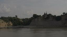 Ayeyarwady river, Pagodas view over Bagan from cruise ship Footage