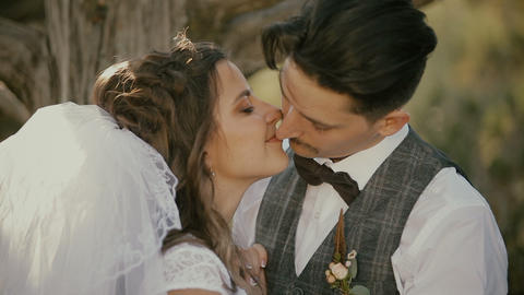 2665 Portrait of bride and groom kissing Footage