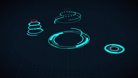 Science fiction design element rotating circle HUD panel Animation