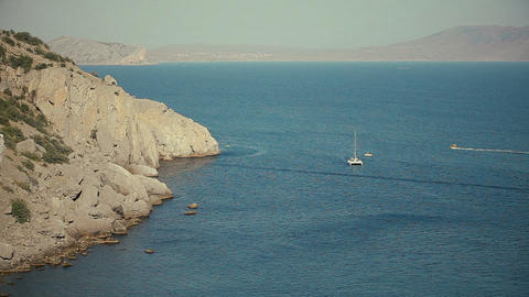 Landscape Of Mountains And Sea Yacht stock footage