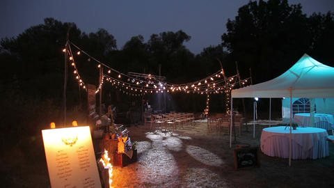 Places for the wedding ceremony illuminated by hundreds of lights Footage