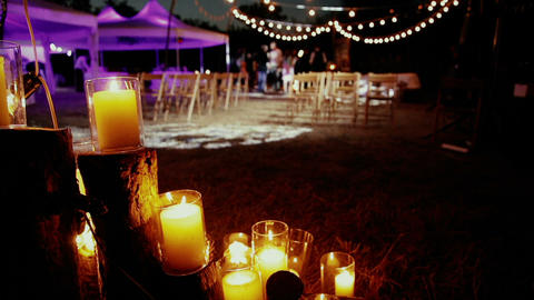 Candles on the background of a wedding ceremony Footage