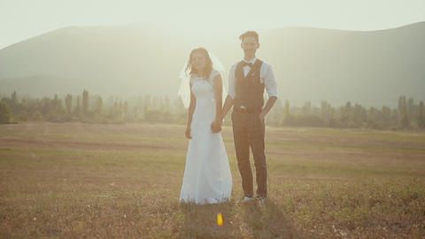 Bride and groom holding hands in a field on a background of the evening mist Live Action