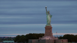 USA New York City 374 Statue Of Liberty In Fantastic Daybreak Colors stock footage