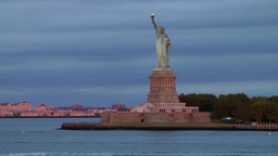 USA New York City 376 statue of liberty in fantastic daybreak colors Footage
