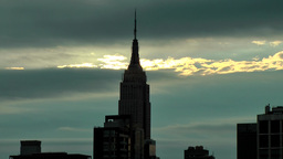 USA New York City 384 Manhattan Empire State Building Against Morning Sky stock footage