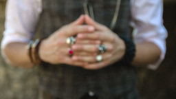 Detail of a man's hands fidgeting with a wedding ring Footage