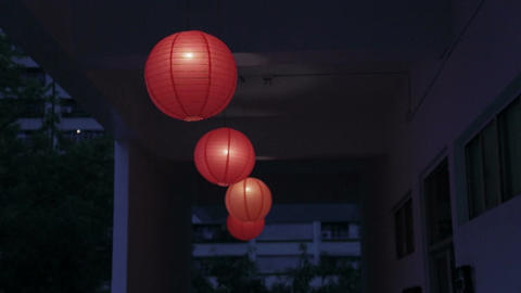 Row of red chinese lanterns Live Action