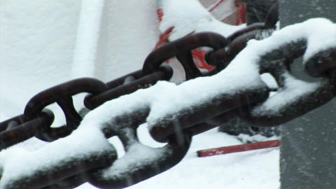 South Georgia: moving anchor chain on expedition ship 1 Stock Video Footage