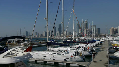 Yacht on the water at Pier of QingDao city Olympic Sailing Center,tsingtao,Tower Footage