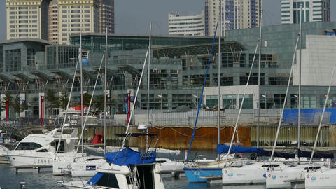Yacht on water at Pier of QingDao city Olympic Sailing... Stock Video Footage