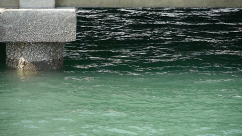 Terminals and water surface,Pier,boardwalk,Dam Stock Video Footage