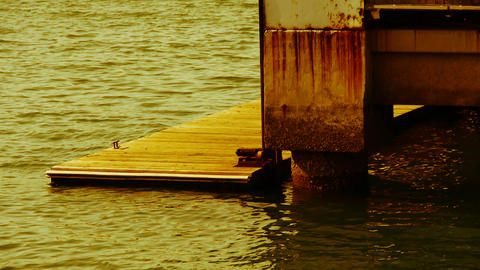 Pier,Terminals and water surface,boardwalk,Dam,floating,rust Stock Video Footage