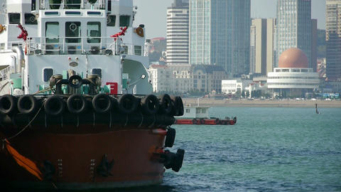 Vessel Parking on water at Pier of QingDao city Olympic... Stock Video Footage