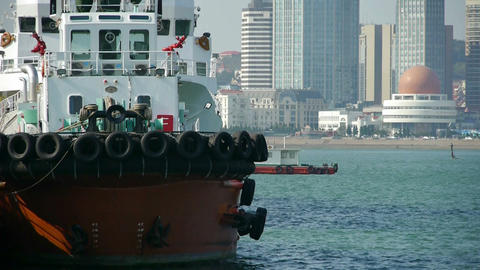 Vessel Parking on water at Pier of QingDao city Olympic Sailing Center,tsingtao, Footage