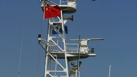 Passenger ships mast.tanker,yacht,boat,Chinese national flag Stock Video Footage