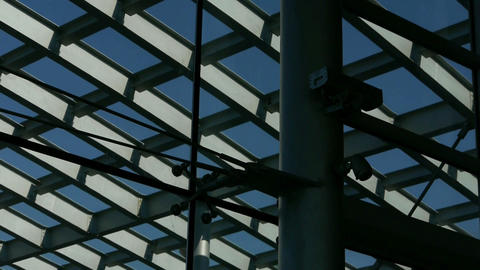 Roof of luxury mall glass house,Geometry,composition,monitor camera Footage