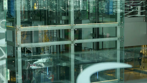 Elevator in Luxury mall glass... Stock Video Footage