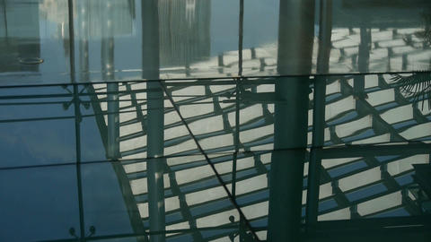 Smooth surface,reflection of roof,Luxury mall glass house,hall,Shadow.abstract,b Footage