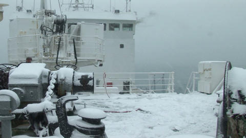 South Georgia: expedition ship in storm snow 1 Stock Video Footage