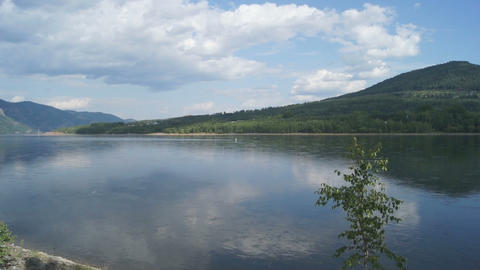 Yenisei River Landscape 01 Stock Video Footage
