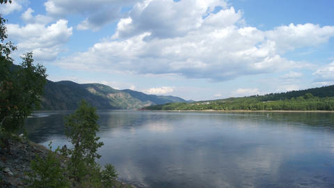 Yenisei River Landscape 02 Stock Video Footage