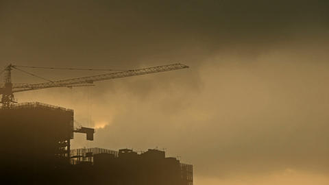 Sandstorm,Dark clouds and fog cover sun sky,building... Stock Video Footage