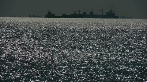 Sparkling water surface and Vessel... Stock Video Footage
