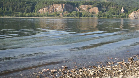 River Yenisei Water Flow Close Up Stock Video Footage