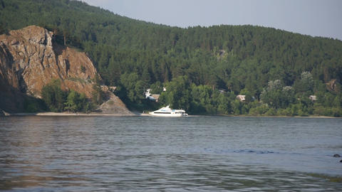 River Yenisei View with White Boat Footage