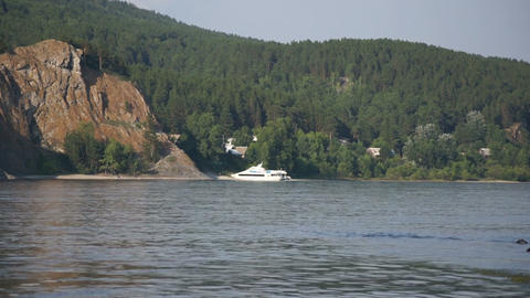 River Yenisei View with White Boat Stock Video Footage