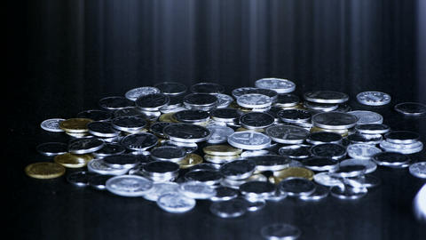 Coin Fall,group of RMB coins and rays light Stock Video Footage