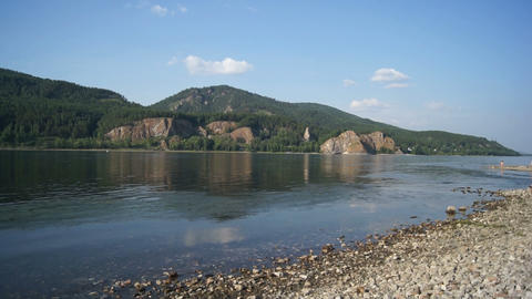 Yenisei River Summer Landscape with Children Stock Video Footage