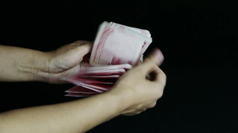 Counting money RMB Footage