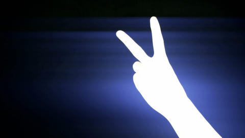 Count from one to five,hand sign silhouette and rays... Stock Video Footage