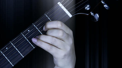 playing guitar,strum and rays lights Stock Video Footage