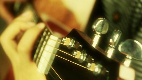 playing guitar,strum,golden sunlight Stock Video Footage