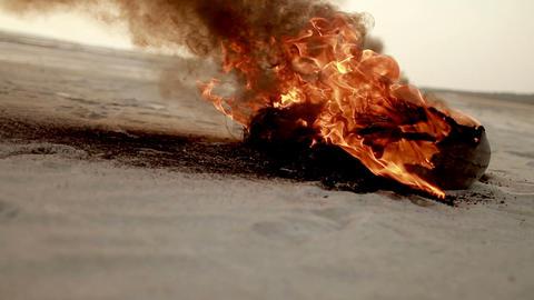 burning wreckage during hostilities Stock Video Footage