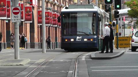 Haymarket Sydney Market City Hay Street 05 tram Stock Video Footage
