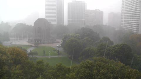 Heavy Rain in Sydney Hyde Park 01 Anzac Memorial Footage