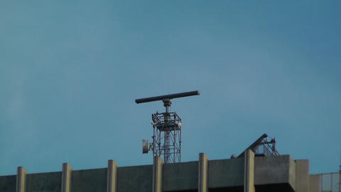 Radar on Rooftop Stock Video Footage