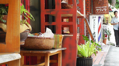 Rural Town in Okinawa Islands 25 street barber hair... Stock Video Footage