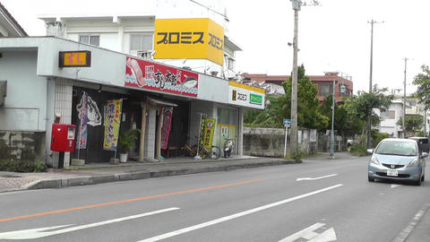 Rural Town Street in Okinawa Islands 20 traffic Footage