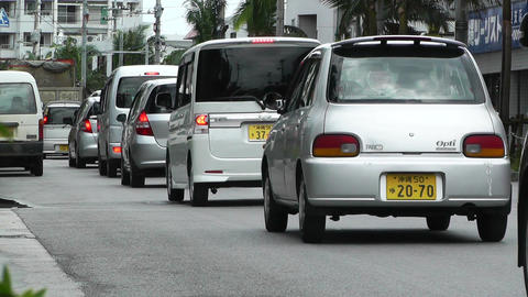 Rural Town Traffic in Okinawa Islands 02 Stock Video Footage