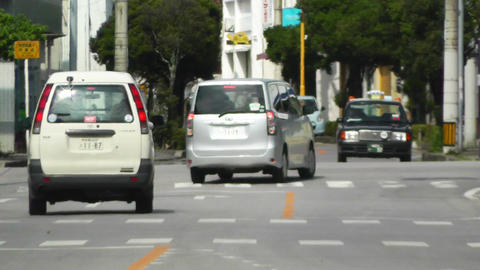 Rural Town Traffic in Okinawa Islands 06 heat mirage Stock Video Footage