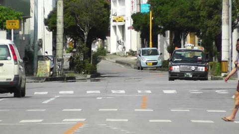 Rural Town Traffic in Okinawa Islands 06 heat mirage Stock Video Footage