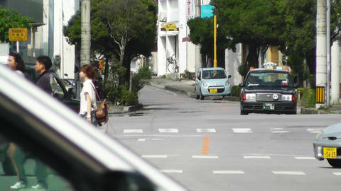 Rural Town Traffic in Okinawa Islands 06 heat mirage Footage