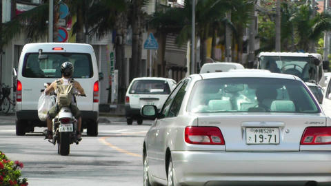 Rural Town Traffic in Okinawa Islands 12 Stock Video Footage