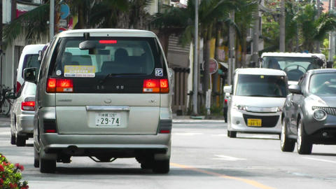 Rural Town Traffic in Okinawa Islands 12 Footage